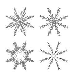 snowflake design set outline for christmas vector image