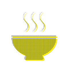 soup sign yellow icon with square pattern vector image