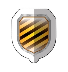 Sticker metallic square shield with colorful vector