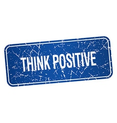Think positive blue square grunge textured vector