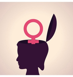 thinking concept-Human head with female symbol vector image