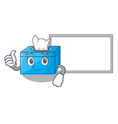 Thumbs up with board character tissue box on wood vector