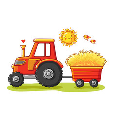 Tractor with a cart vector