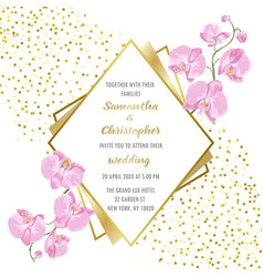 Wedding glamorous invitation with orchids vector