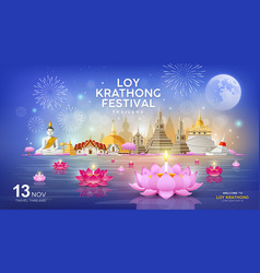 welcome to loy krathong festival in building vector image