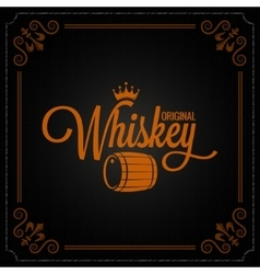 Whiskey barrel label design logo background vector