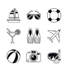 White background with monochrome icons beach vector