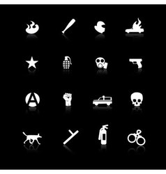 white riot icons on black vector image