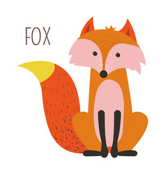 Wild forest fox childish cartoon book character vector