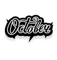 Word october lettering vector