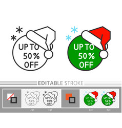 xmas banner sticker santa hat sale linear icon vector image