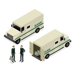 armored truck set isometric view vector image