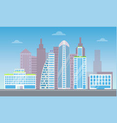 cute cityscape with set of pretty modern buildings vector image