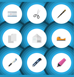 Flat icon stationery set of knife clippers vector