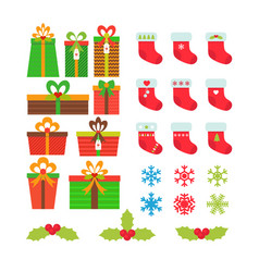 christmas icons set gift boxes snowflakes holly vector image vector image
