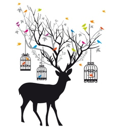 deer with birds and birdcages vector image