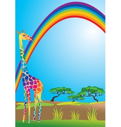 rainbow and giraffe vector image