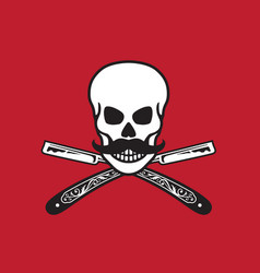 skull with crossed razors vector image vector image