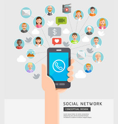 social network conceptual flat style vector image