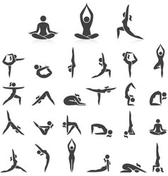 yoga woman poses icons set vector image vector image