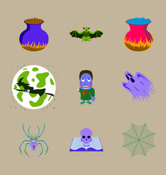 assembly flat halloween cauldron bat vector image vector image