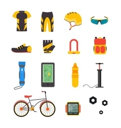 Bicycle and Accessories Icon Set Sportive vector image