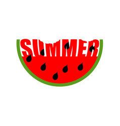Watermelon summer emblem piece of red fruit logo vector