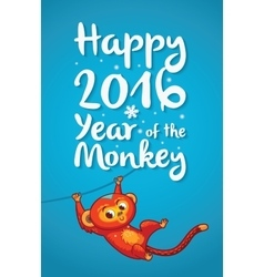 Happy 2016 Year of the Red Monkey Funny cartoon vector image
