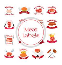 meat chicken sausage labels pack-logo for market vector image