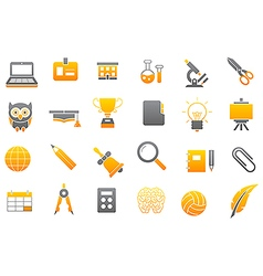 School elements gray yellow icons set vector image vector image