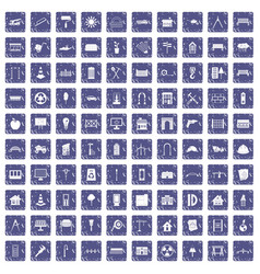 100 architecture icons set grunge sapphire vector