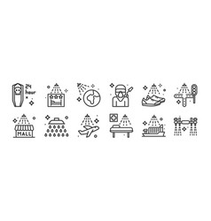 12 set linear mass disinfection icons thin vector