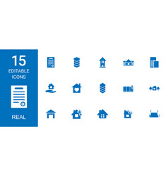 15 real icons vector image