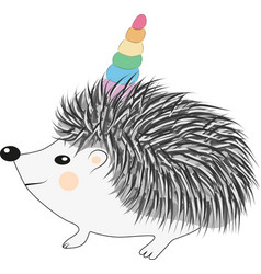 a cartoon hedgehog with a unicorn horn concept vector image