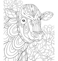 adult coloring bookpage a cute cow image for vector image