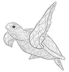 Adult coloring bookpage a cute turtle image for vector