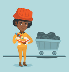 african miner checking documents with flashlight vector image