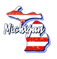 American flag in michigan state map grunge style vector