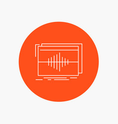 Audio frequency hertz sequence wave white line vector