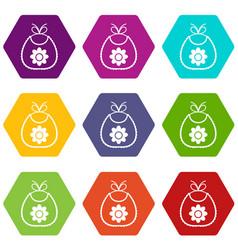 baby bib icon set color hexahedron vector image