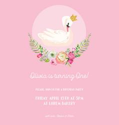 Baby birthday invitation card with swan flowers vector