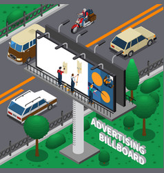 billboard isometric composition vector image