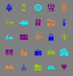 Birthday gift color icons on gray background vector image