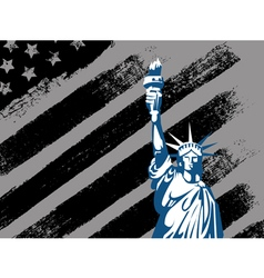 black american design with statue liberty flag vector image