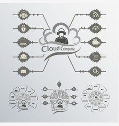 Black and white computer cloud vector