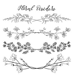 black dividers with branches plants and vector image vector image