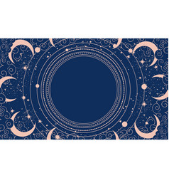 Blue mystical background with stars clouds vector