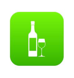 Bottle of wine icon digital green vector