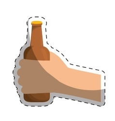 Bottles of beer in the hand icon design vector
