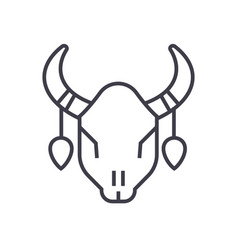 Bull skull line icon sign on vector